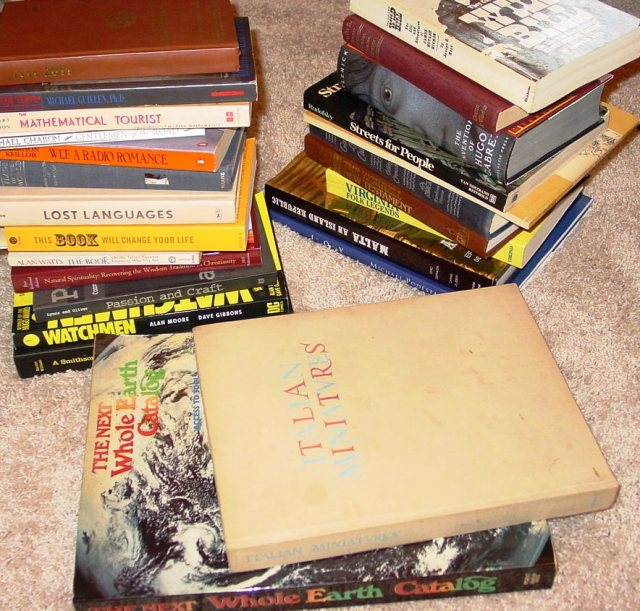 books from booksales and thriftshops